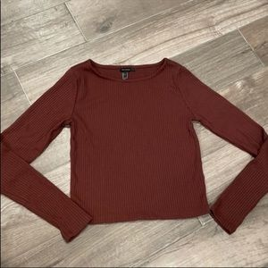 Rust Red Boat Neck Ribbed Long Sleeved Top